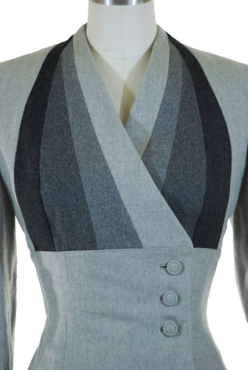 Gorgeous Early 1960s Lilli Ann Tailored Jacket in Grayscale Colorblock