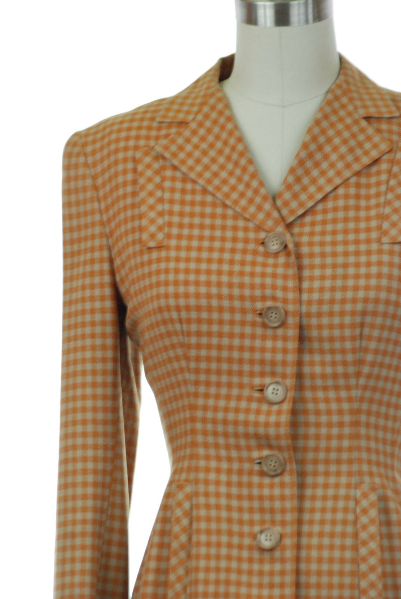 Sporty 1940s checkered jacket in Burnt Orange and Taupe