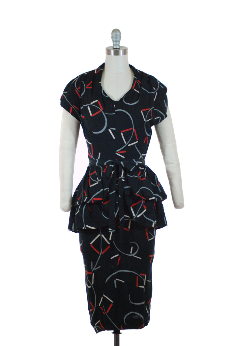 Killer Altered 1940s Printed Rayon Dress with Optional Peplum and Wiggle Silhouette