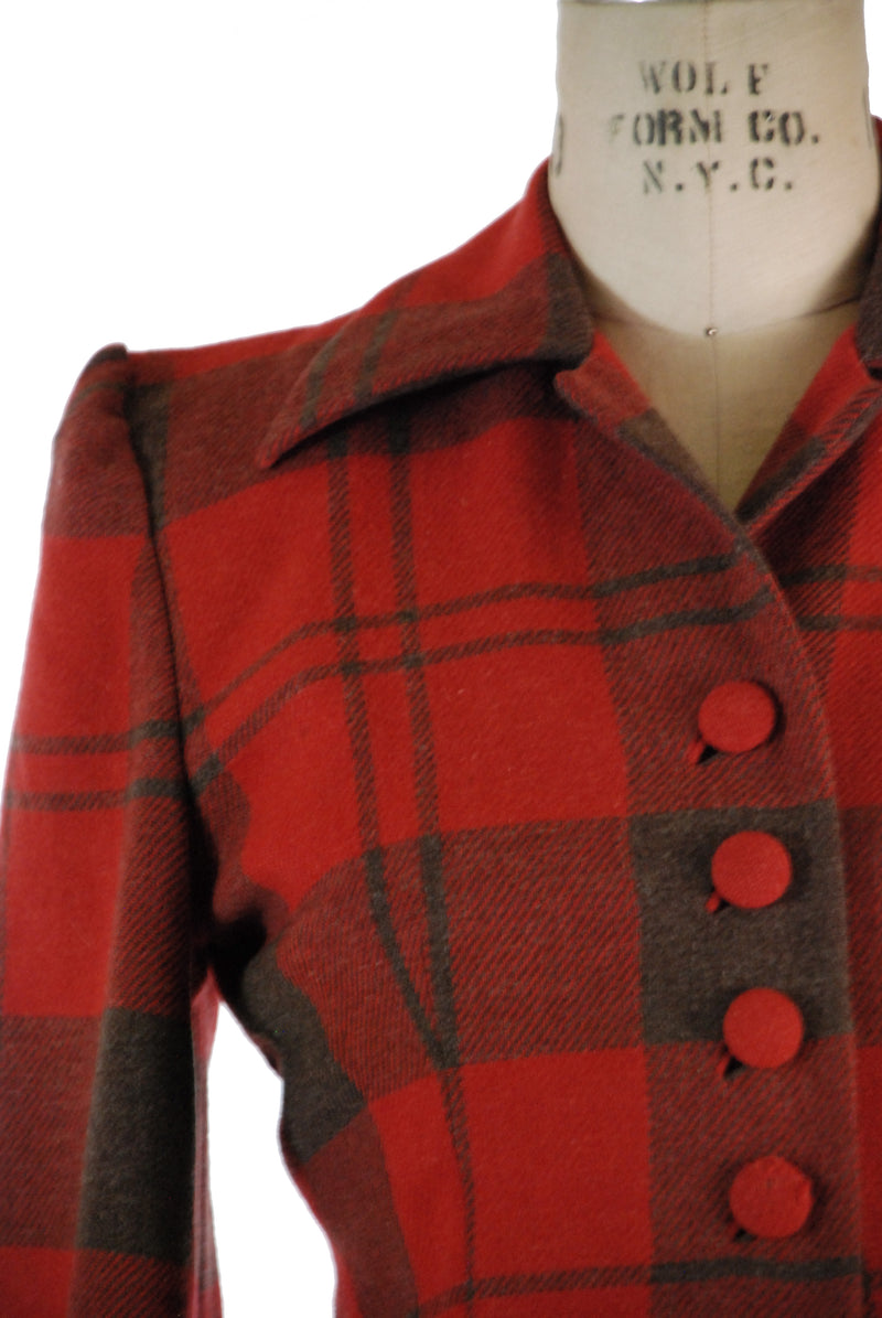 Rare Sporty Wool 1940s Jacket in Red and Black Plaid Check with Bloused Back