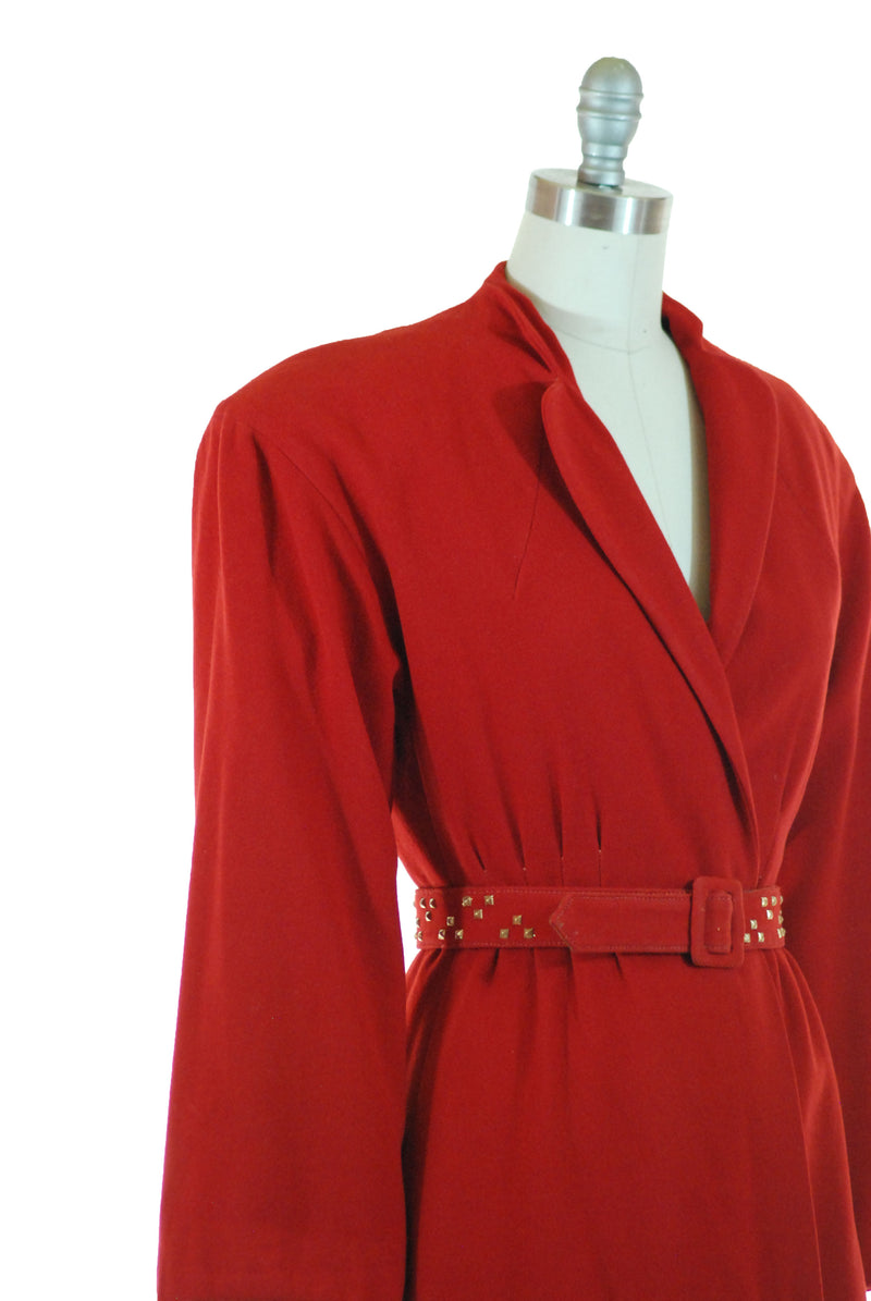 Rare and Bold 1940s True Red Wool Jacket with Brass Studded Belt