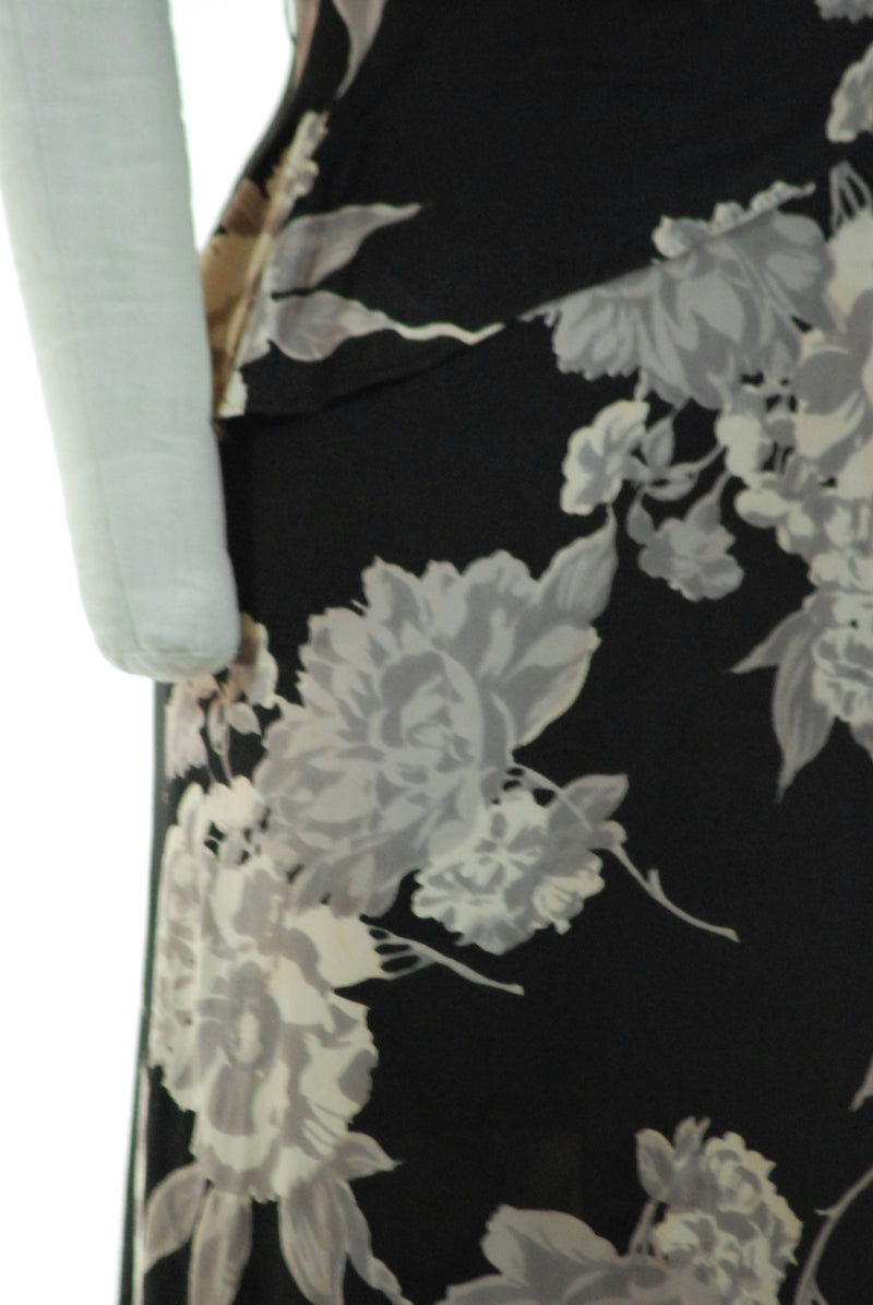 Dramatic 1940s Rayon Jersey Day Dress in Macro Floral of Black, Cream and Warm Grey