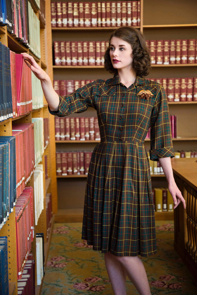 Classic 1940s Plaid Wool Blend Shirtdress with Buttons Down the Front