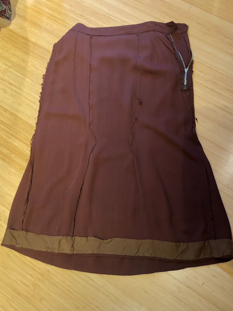1940s Gored Rayon Crepe Skirt in Chestnut Brown with Side Zipper