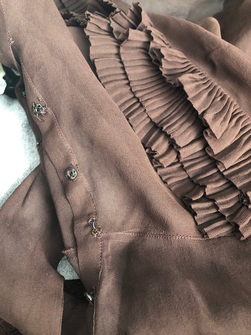 Ethereal 1930s Chocolate Brown Dress with Accordion Pleated Ruffles