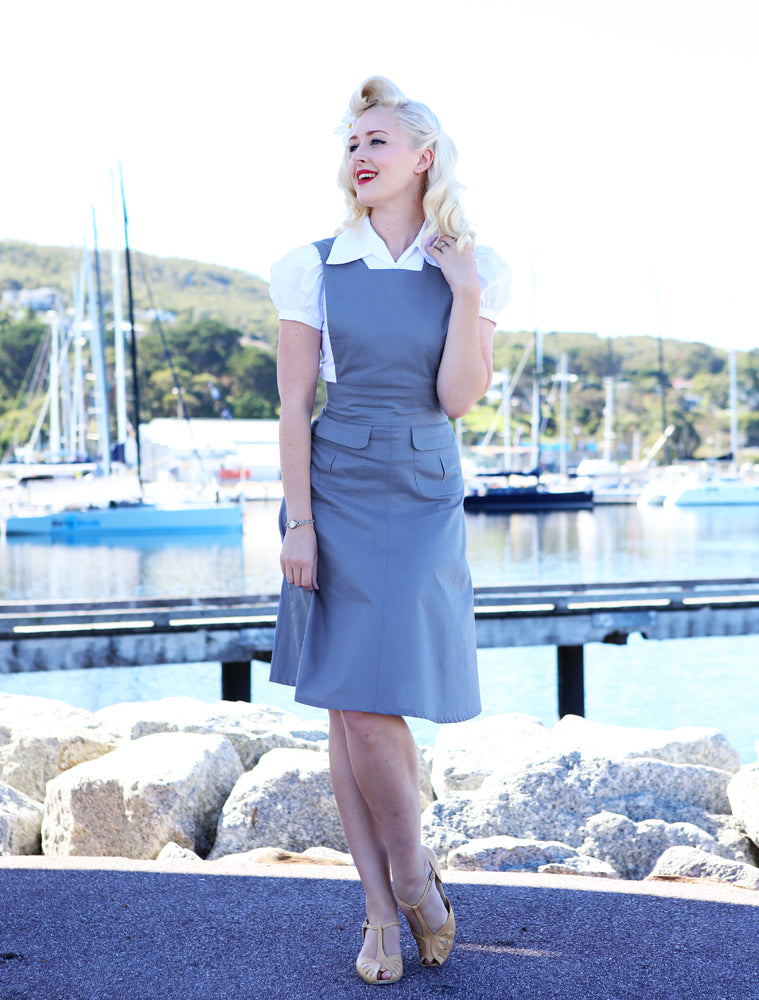 Jitterbuggin 1940s Style Reproduction Pinafore Jumper, Four Color Options