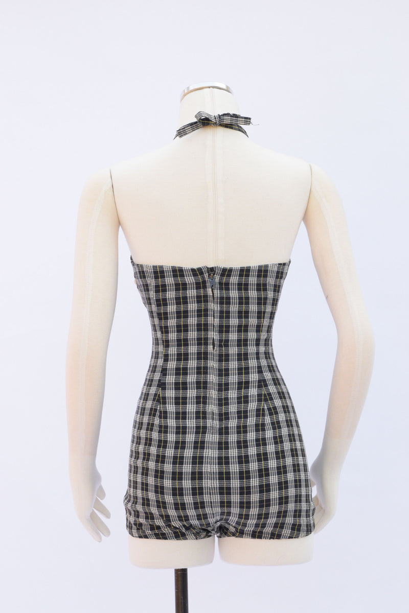 Fantastic 1950s Rose Marie Reid One Piece Swimsuit in Madras Plaid with White Trim