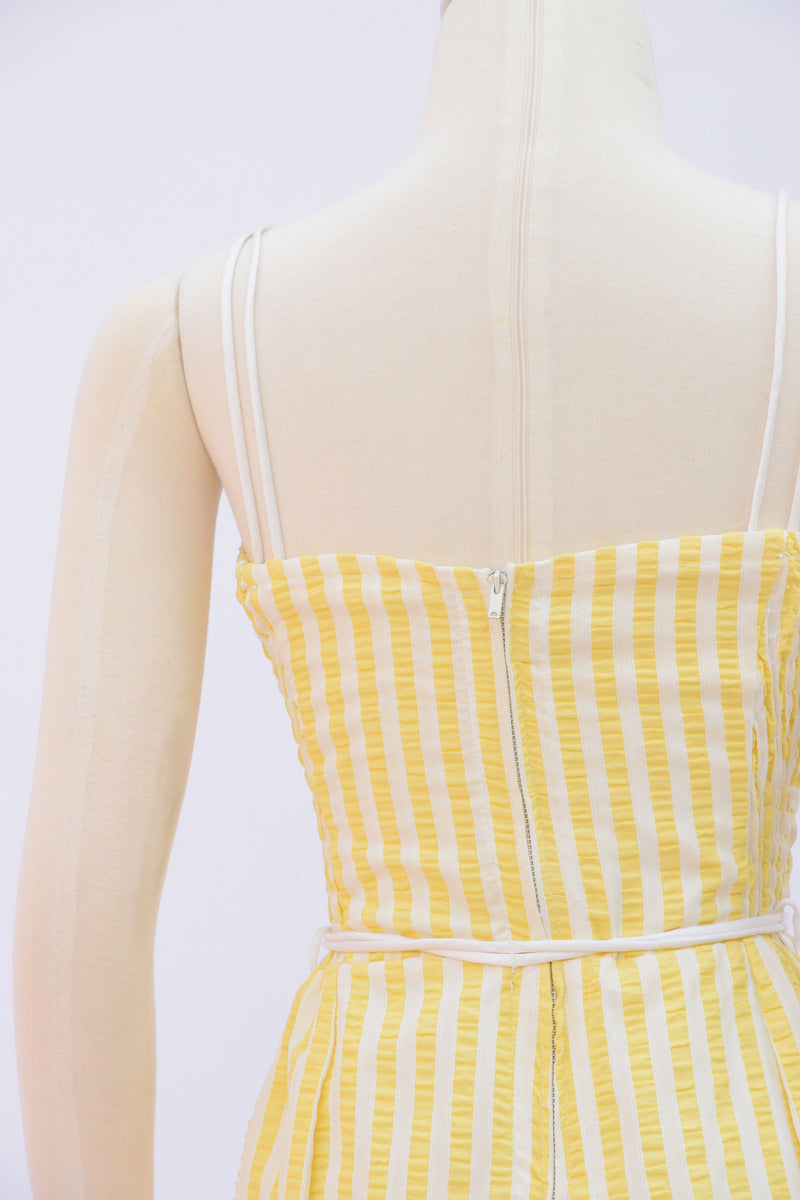 Adorable 1960s Cole of California Striped Swim and Playsuit in Sun Yellow and White