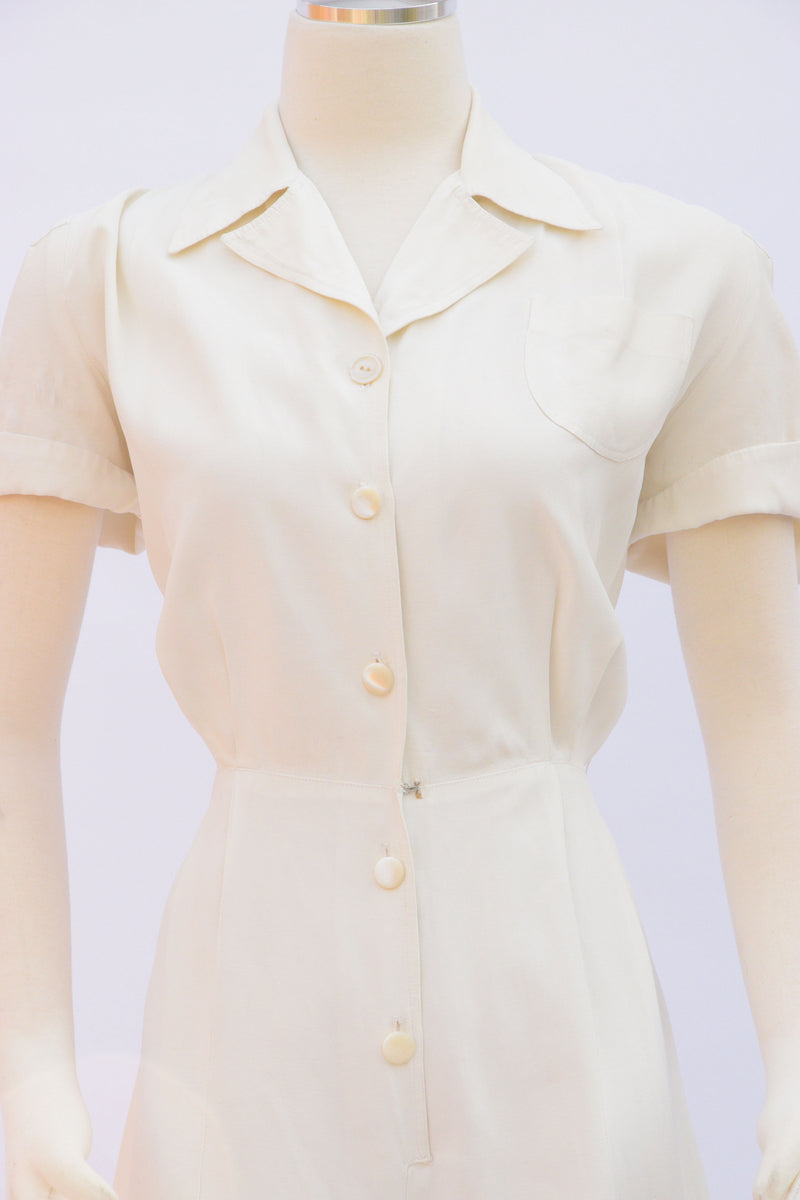 Layaway Deposit for Versatile 1940s Rayon Faille Playsuit with Smart Collar and Perfect Shorts