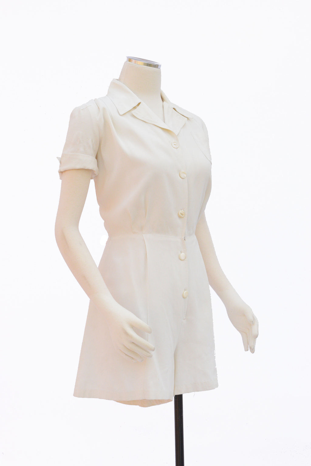 RESERVED 1940s Rayon Faille Playsuit with Smart Collar and Perfect Shorts
