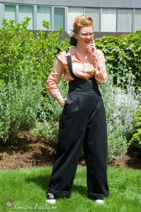 "Jitterbuggin' 1940s Style ""Ankeny Slacks"" Reproduction High Waist, Wide Leg Suspender Pants"