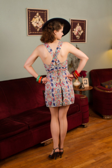 Adorable As-Is 1940s Playsuit in Bright Colored with Adjustable Straps