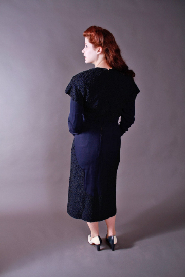 RESERVED on Layaway- Rare 1930s Navy Rayon Crepe Dress with Exceptional Soutache Work
