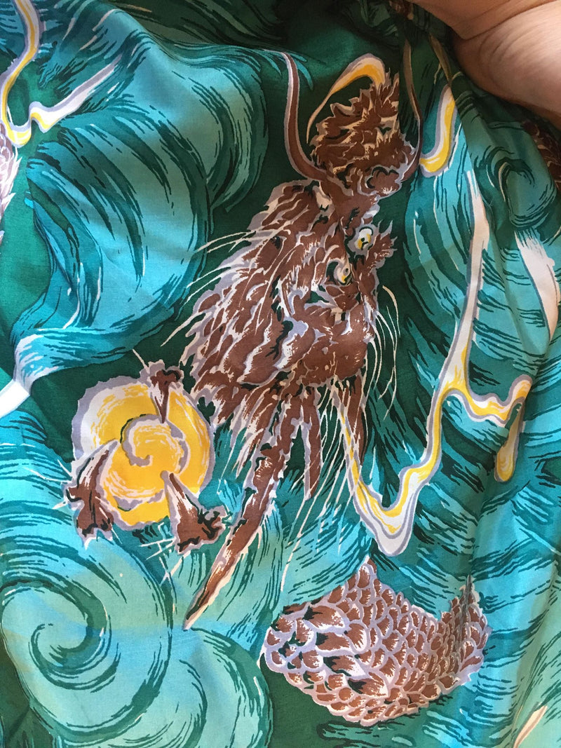 RARE 1950s Custom Made Dragon Print Silk Sarong Style Hawaiian Dress with Halter
