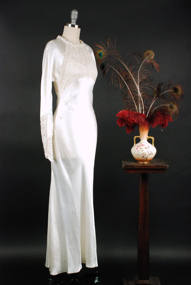 Vintage 1930s Wedding Dress - Exquisite Rayon Charmeuse Bias Cut Wedding Gown with Deep Sheer Lace and Diagonal Beaded Trim