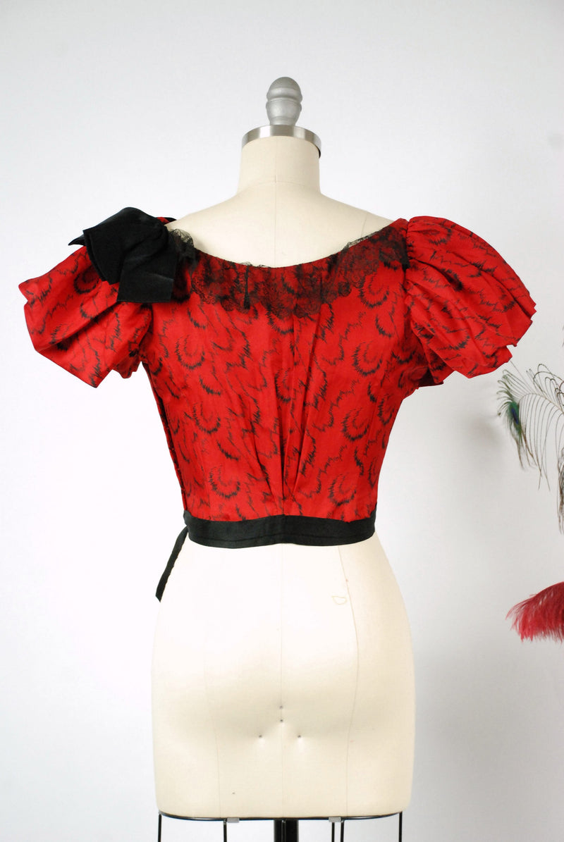 Vintage Victorian Blouse - Exquisite Lipstick Red Victorian Silk Bodice c.1895 with Puffed Sleeves Utterly Wearable Condition