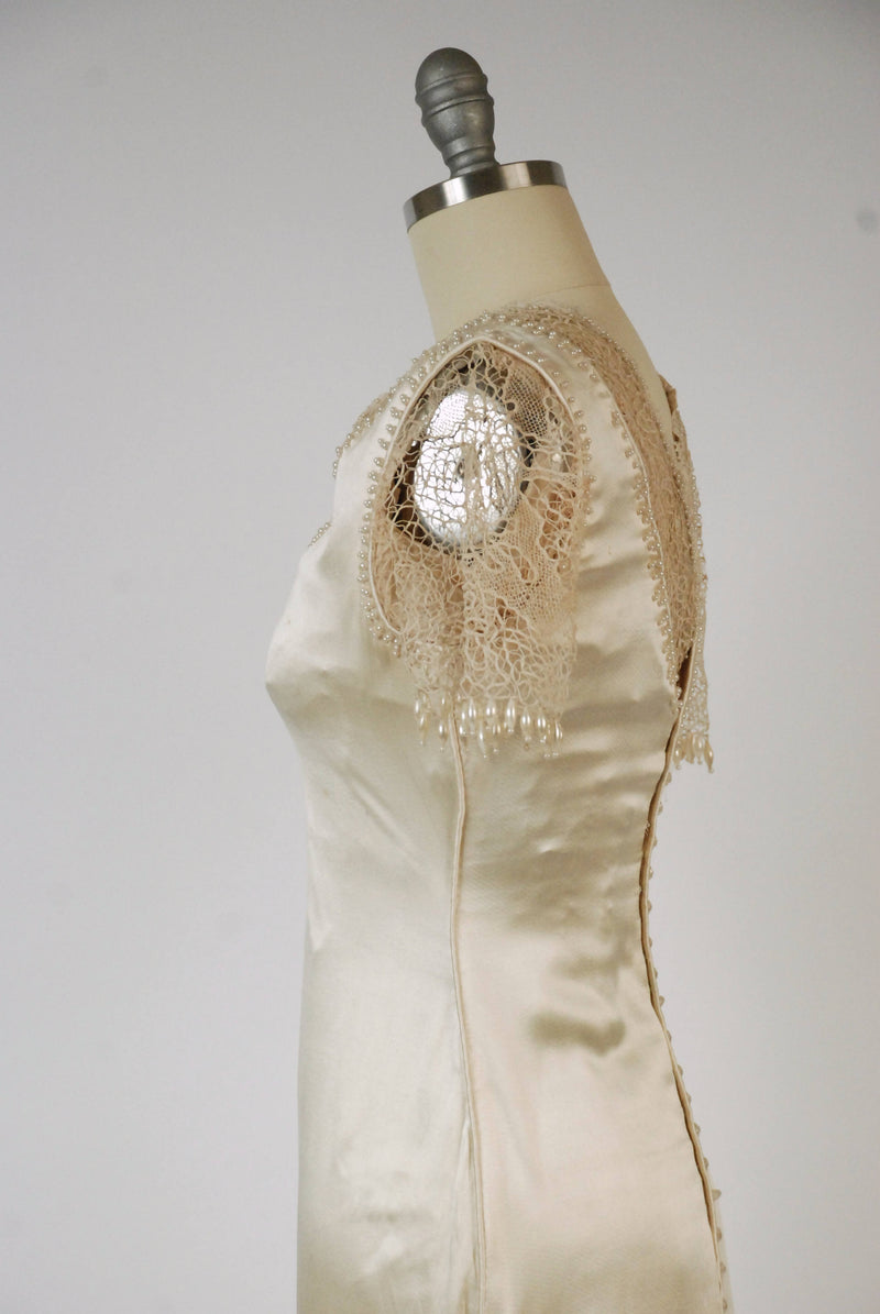 Vintage Edwardian Wedding Dress -c. 1908 Robe-Sylphide  Luxurious Silk Trained Wedding Gown with Handmade Lace and Pearl Beads