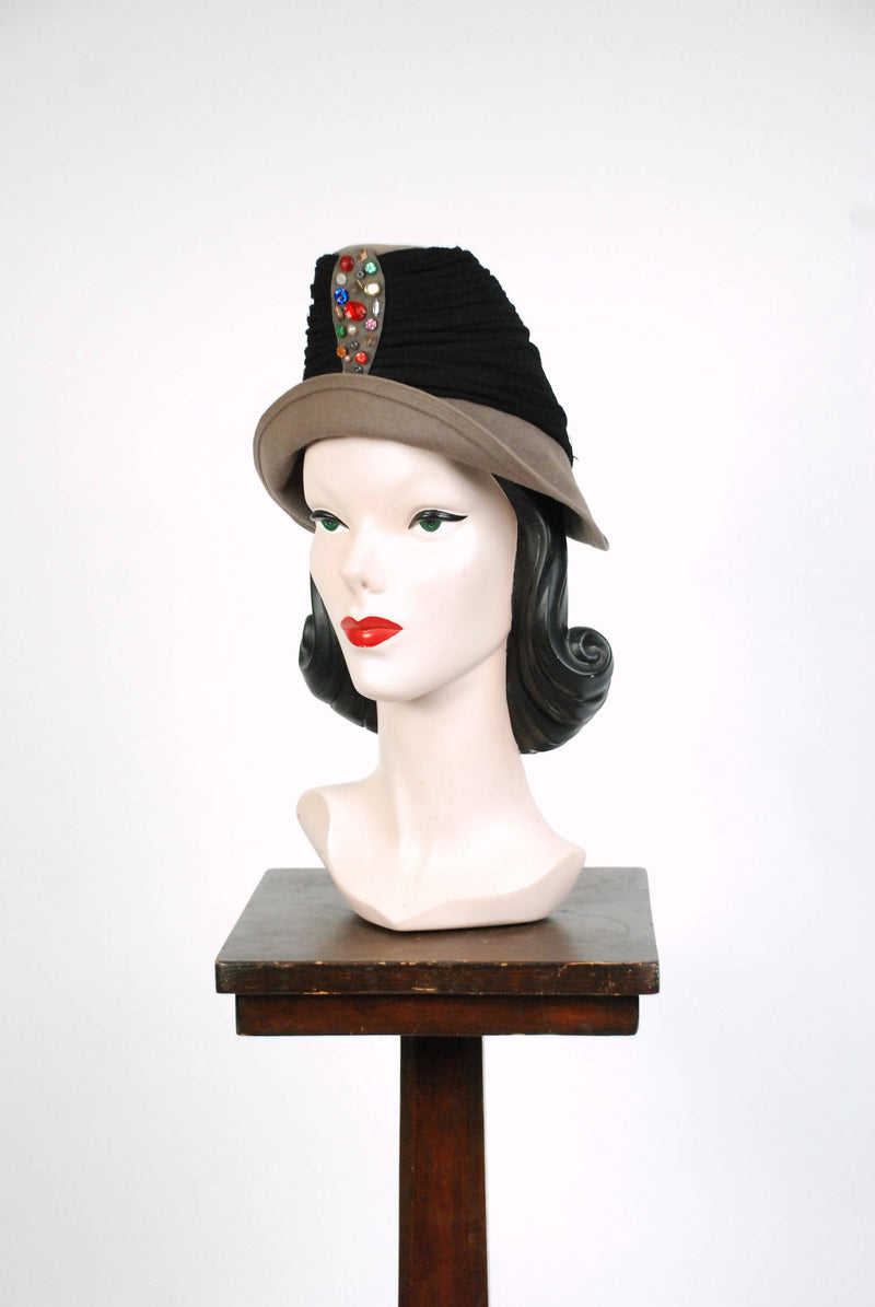 1940s Vintage Hat - Rare 40s Peaked Hat in Steel Grey with Wrapped with Jersey and Studded with Multicolor Beads