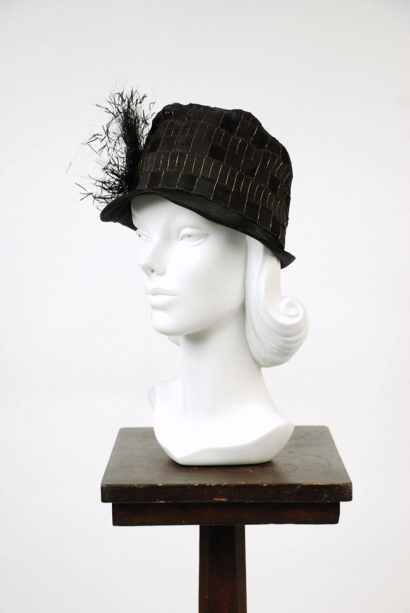 Vintage 1920s Cloche- Striking 20s  Woven Silk Cloche with Metallic Gold Plaid and Spray of Peacock Feathers on Deco Buckle