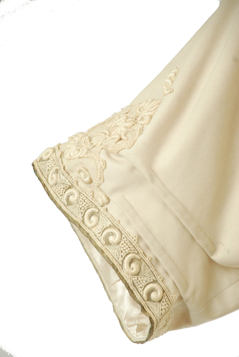 Vintage Edwardian Coat - Rare Ivory Cashmere Early Cocoon Coat with Lame Trim and Decadent, Heavy Guipure Lace Trim