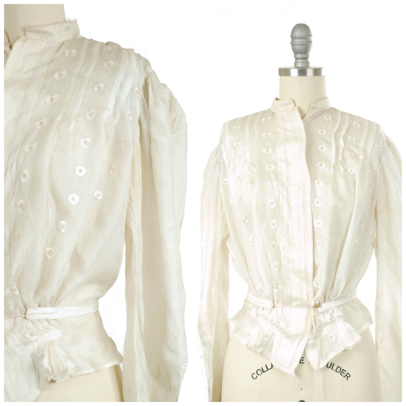 Vintage Edwardian Blouse - Ethereal Ivory Silk 1910s Blouse with Pintucks, Eyelet Embroidery, Full Sleeves and Waist Ties