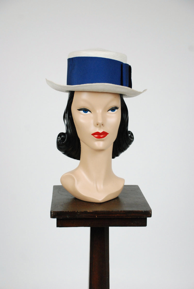 Vintage Edwardian Hat - Rare 1900s Edwardian Ladies' Panama Hat in Fine White Straw with Blue Grosgrain