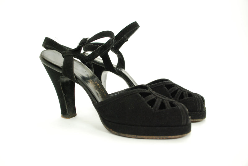 Vintage 1940s Shoes - Exquisite AirStep Jet Black Suede Ankle Strap Platform Pumps with Open Vamp 7 7.5
