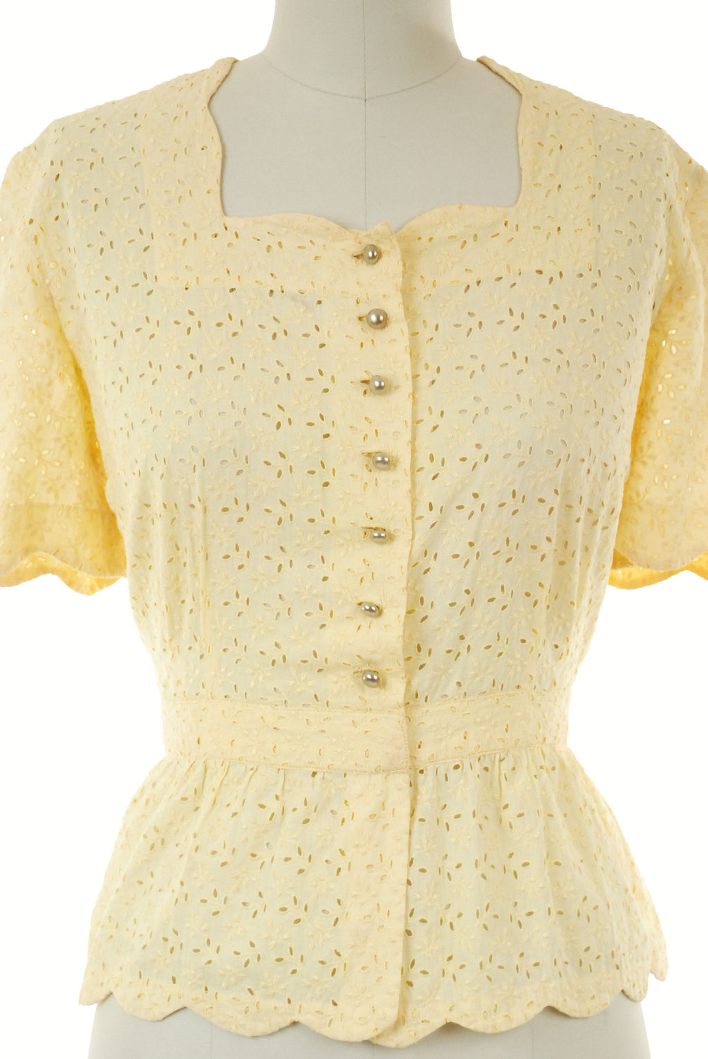 Vintage 1940s Blouse - Sunny Butter Yellow Cotton Eyelet Blouse with Fitted Waist and Scalloped Peplum