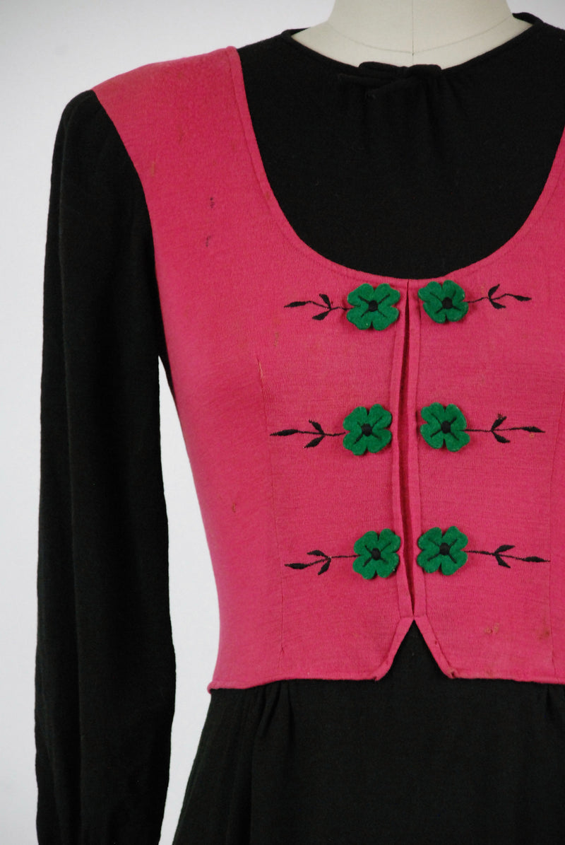 Vintage 1930s Dress - Darling Fuchsia and Black Wool Late 30s Junior's Day Dress with Felt Flower Accents on a Faux Vest