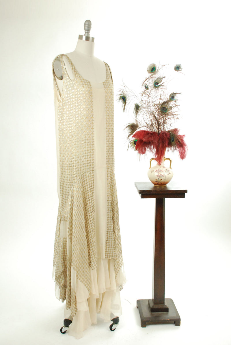 Vintage 1920s Wedding Dress - Rare 20s Sheer Silk Tissue Chiffon Tiered Hem Gown Embroidered with Gold and Silver Metallic Houndtooth