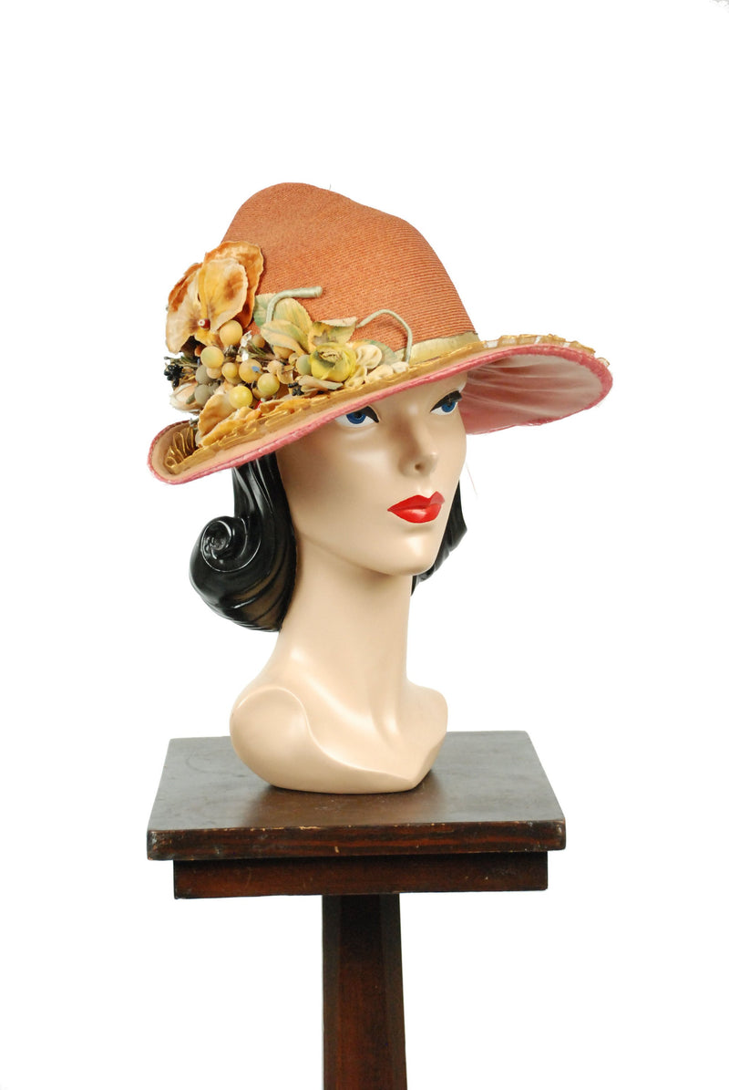 Vintage 1920s Cloche - Spectacular Roaring 20s Hat in Orange Straw with Decadent Grapes and Floral Trim