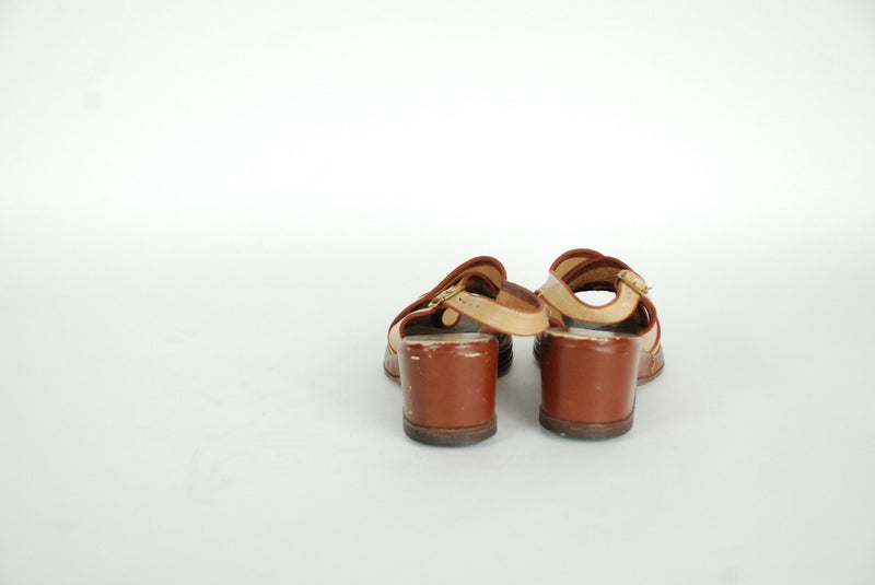 Vintage 1940s Shoes - Darling Tone Caramel and Rust Brown 40s Leather Wedges with Peeptoes Size 5