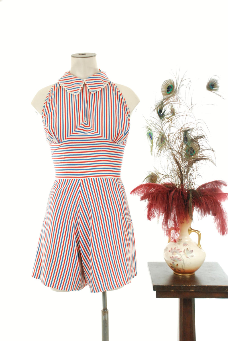Vintage 1940s Playsuit - Halter Style 40s Vintage Romper in Red, White and Blue Stripes Pin Up Style Shorts