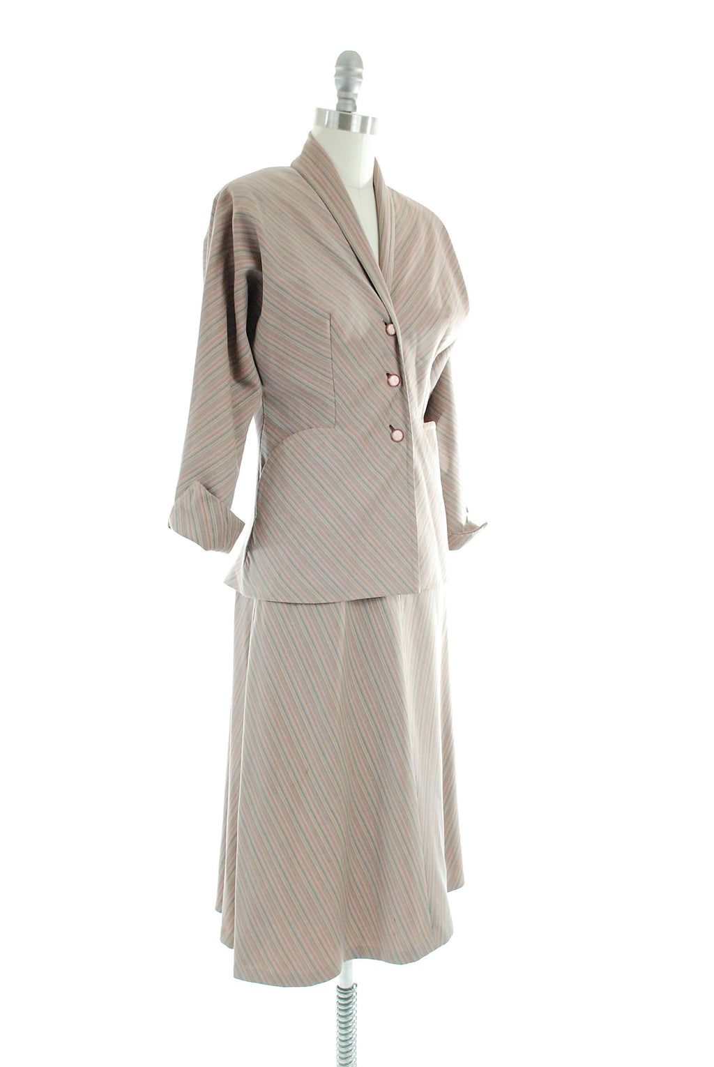 Vintage 1950s Dress - Rare 50s Striped Suit by Designer Claire McCardell Gorgeous Subtle Stripes