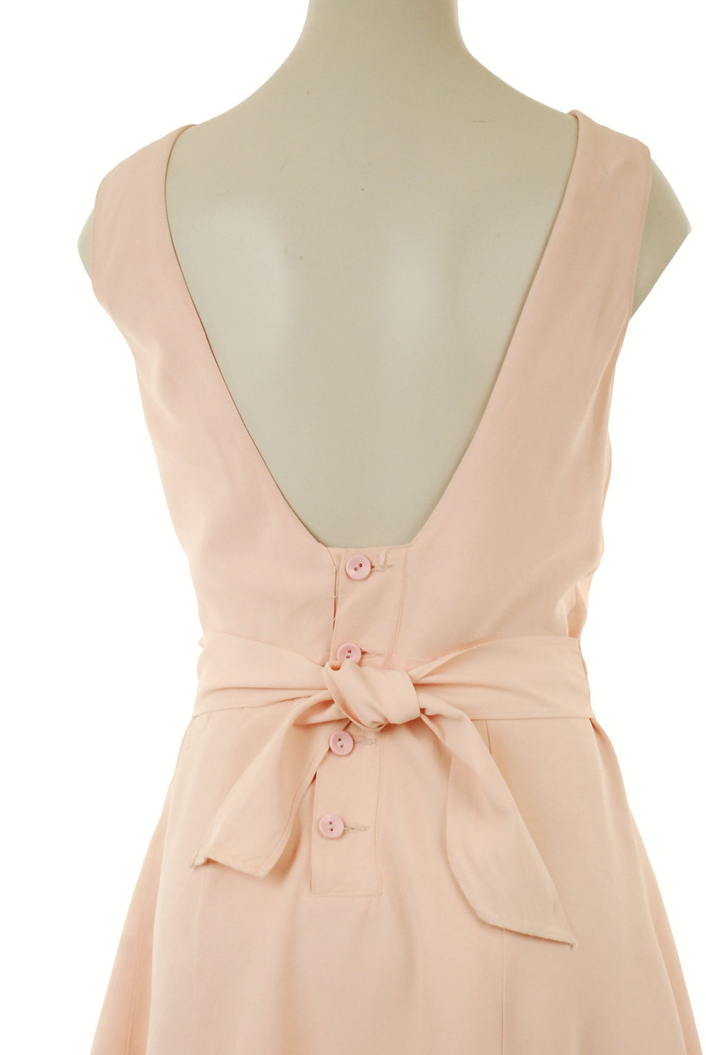 "Vintage 1940s Bathing Suit - Classic Early Catalina ""A California Creator"" Twist Style Bathing Suit in Pale Pink with Button Back"