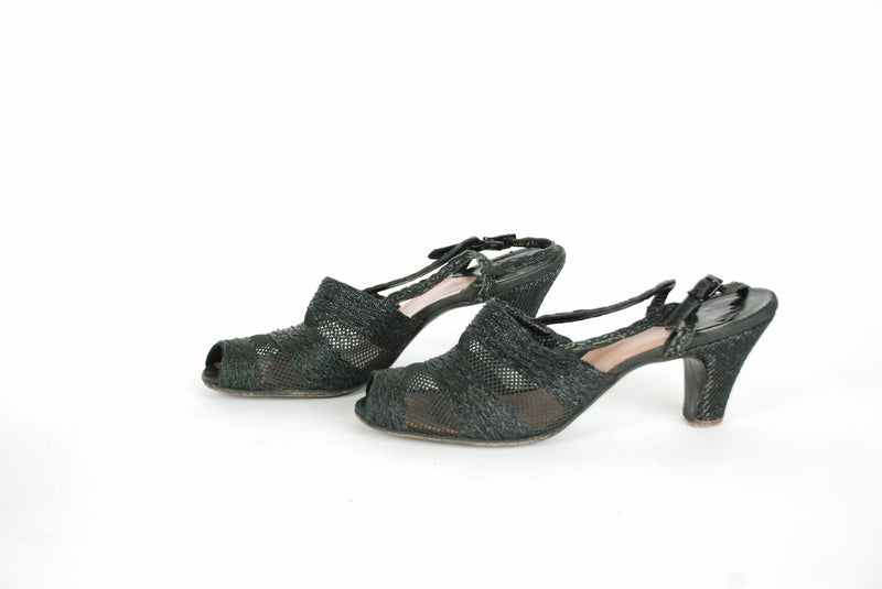 Vintage 1940s Shoes - Late 40s Florsheim Woven Summer Shoes in Black and Sheer Size 8.5 Narrow