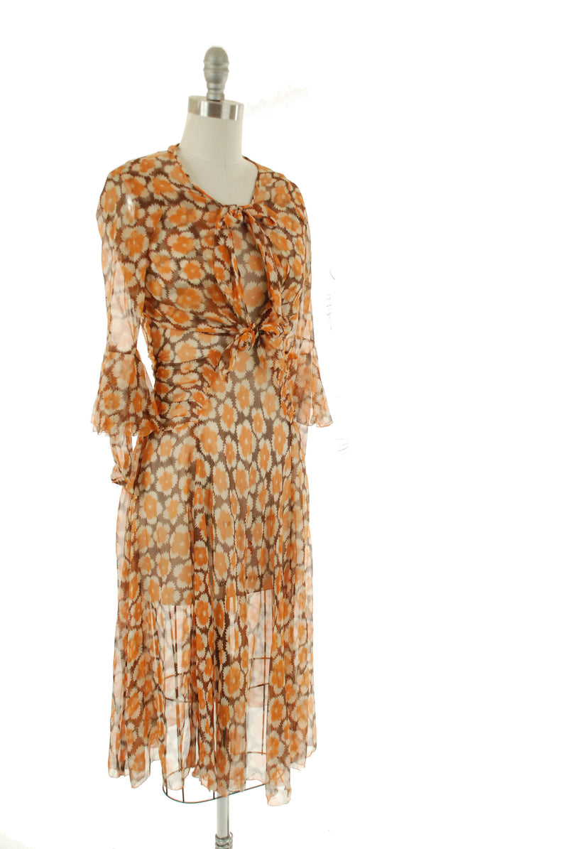 Vintage 1930s Dress - Rare Two Piece Ultra Sheer Art Deco Floral Print Silk Chiffon 30s Dress with Amazing Sleeves and Layering
