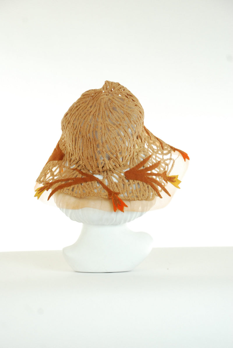 Vintage 1920s Hat - Exquiste and Unique Horsehair and Straw Lace Cloche with Wide, Soft Brim and Felt Leaf Appliques