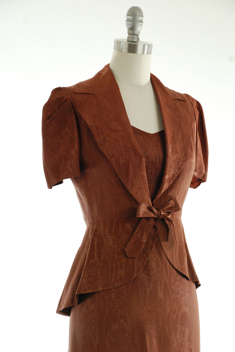 Vintage 1940s Dress - 40s Evening Gown in Chocolate Brown Watered Faille with Tie Front Jacket