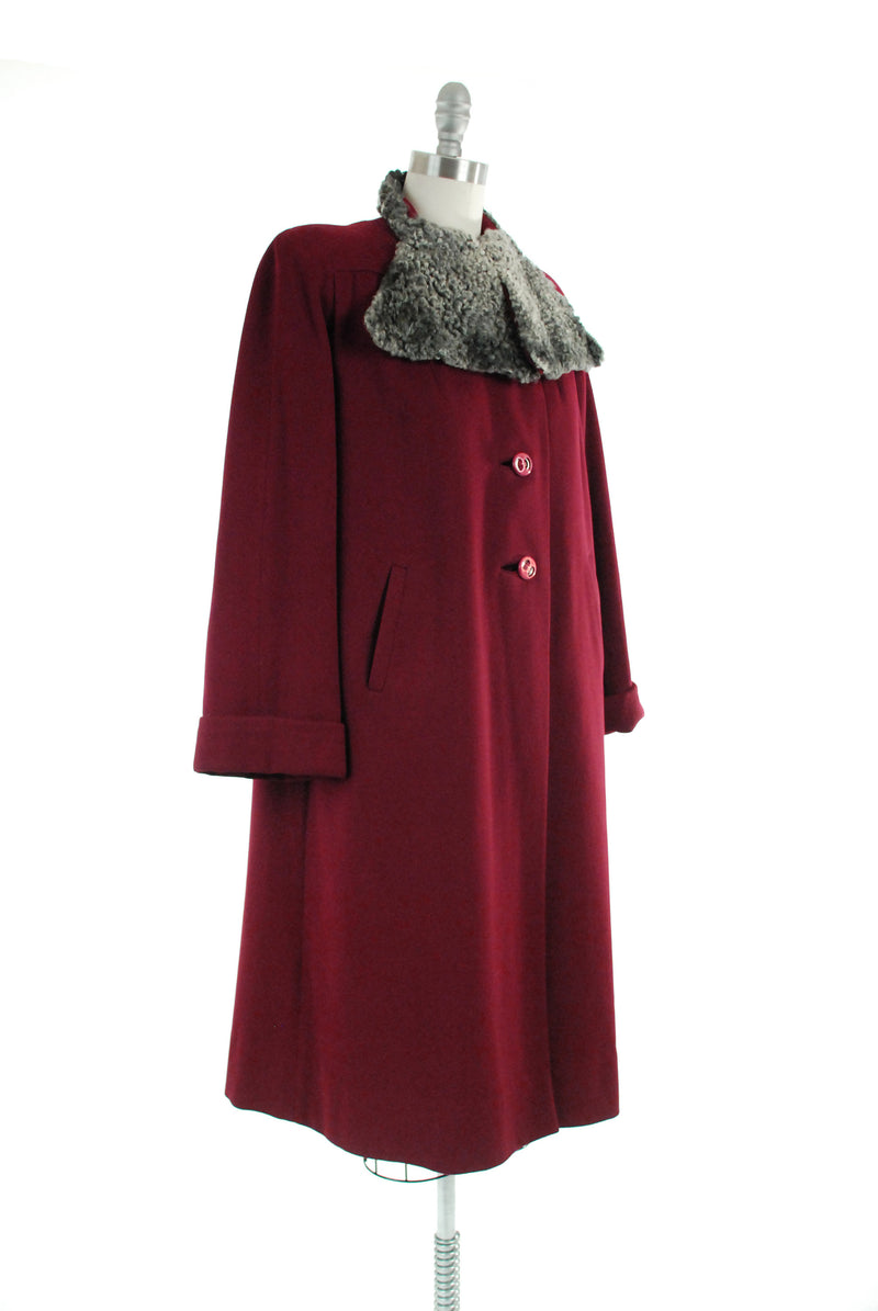 Vintage 1940s Coat - Late 30s to 40s Wool Coat in Rich Burgundy Woo with Grey Broadtail Lamb Trim Collar