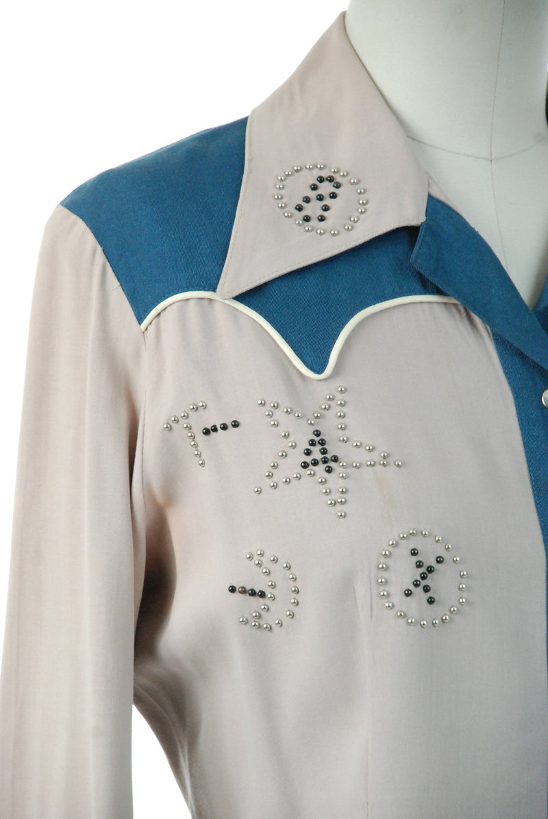 1950s Western Wear - Rare Studded 50s Ladies Western Blouse Rich Grey and Indigo Blue with Cattle Brands