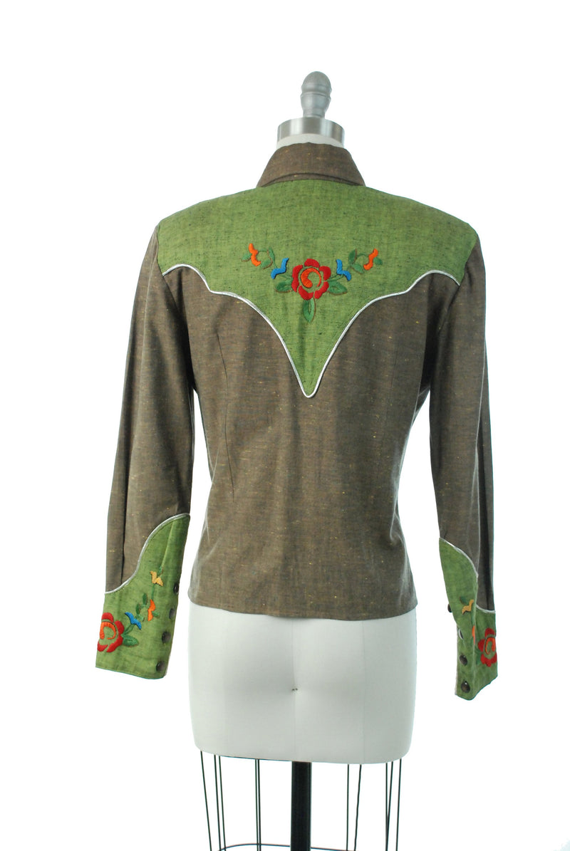 1960s Western Wear - Handmade Embroidered 60s Ladies Western Blouse in Heathered Brown and Olive Green with Silver Piping