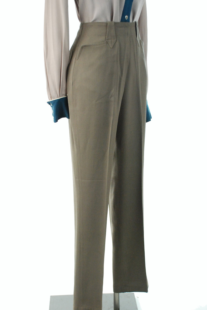 1950s Western Wear - Vintage Late 50s Ribbed Rayon Western Pants in Taupe Brown
