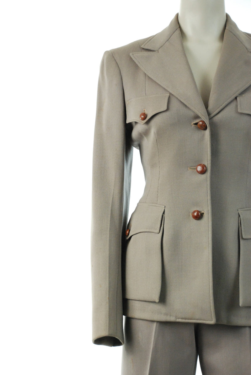 Vintage 1940s Rodeo Suit - Women's Taupe Wool Whipcord Western Pants and Coordinating Jacket with Wrapped Leather Buttons