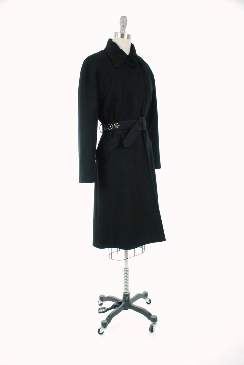 Vintage 1940s Jacket - Dramatic Rare Black Wool 40s Coat with Silver Studded Belt