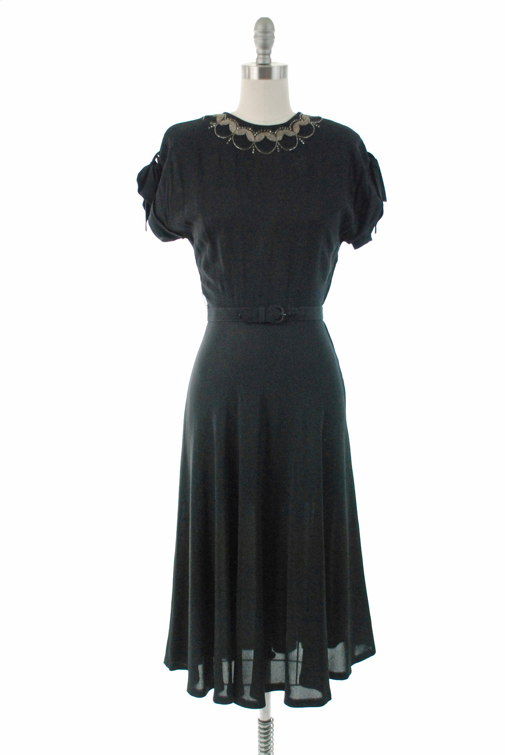 Vintage 1940s Dress - Sophisticated Black Rayon Crepe 40s Cocktail Dress with Simple Beaded Neckline