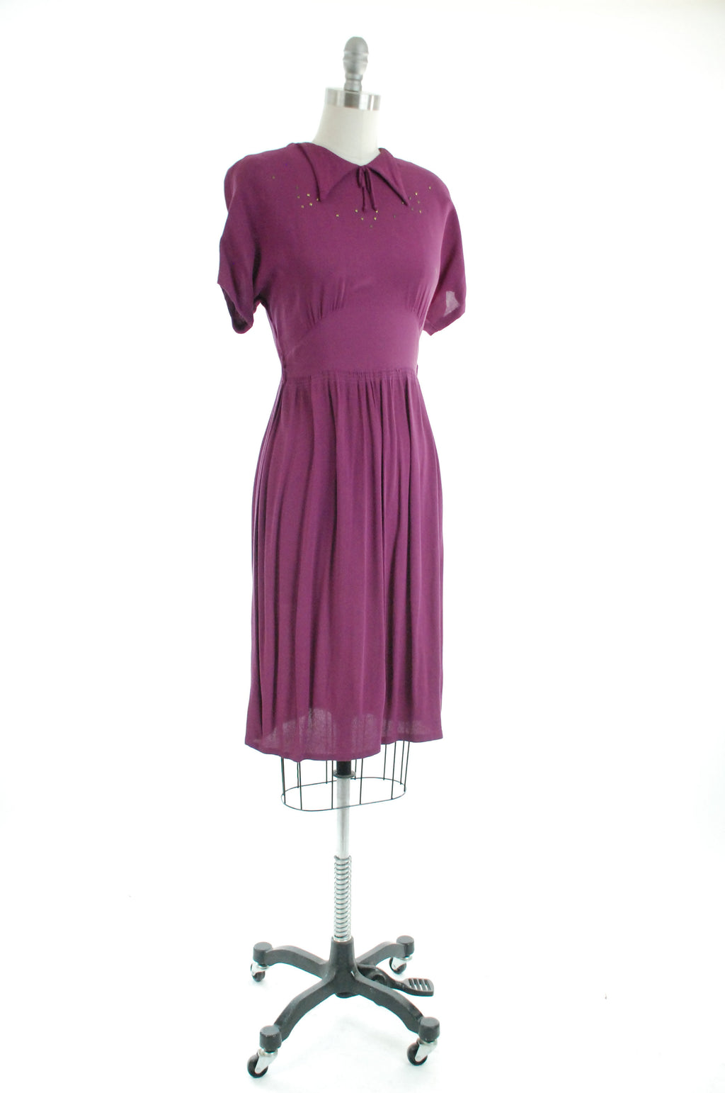 1940s Dress -  Charming Vintage 40s Day Dress in Purple Rayon Crepe Brass with Studs