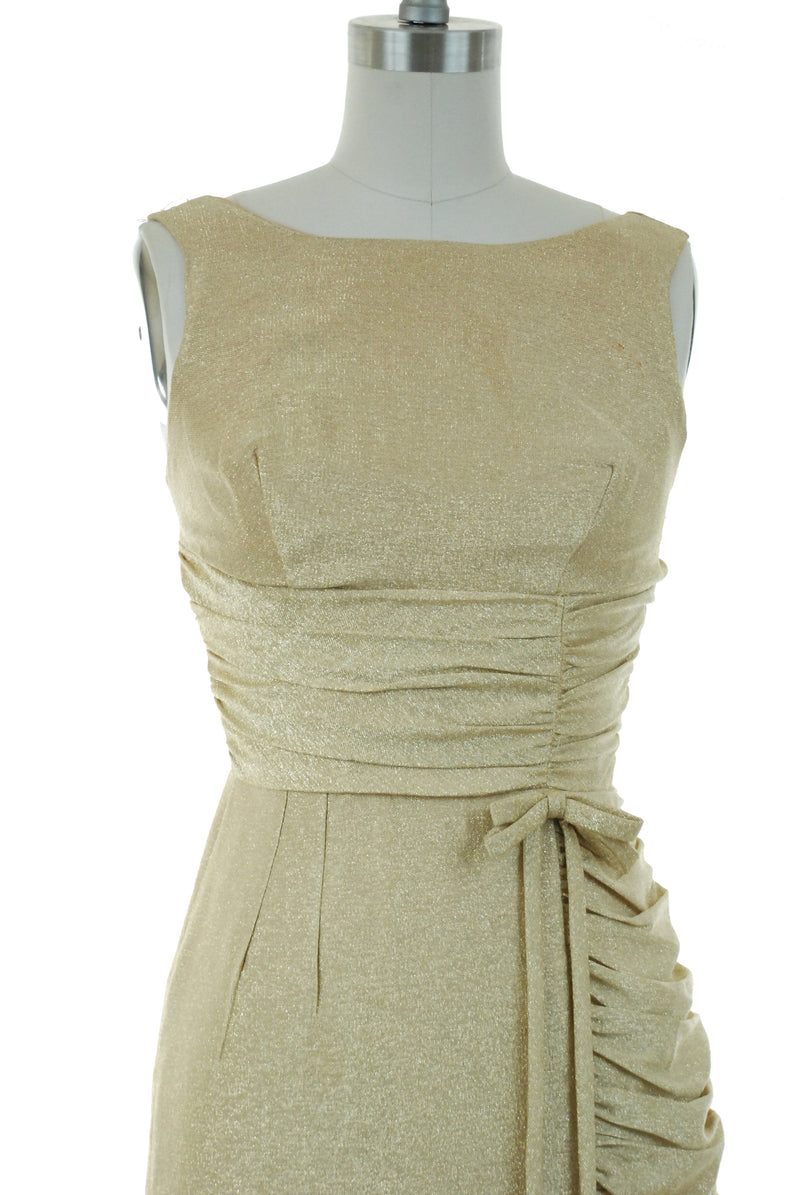 Vintage 1960s Dress - Bombshell Gold Lurex 60s Wiggle Dress with Ruching and Bow