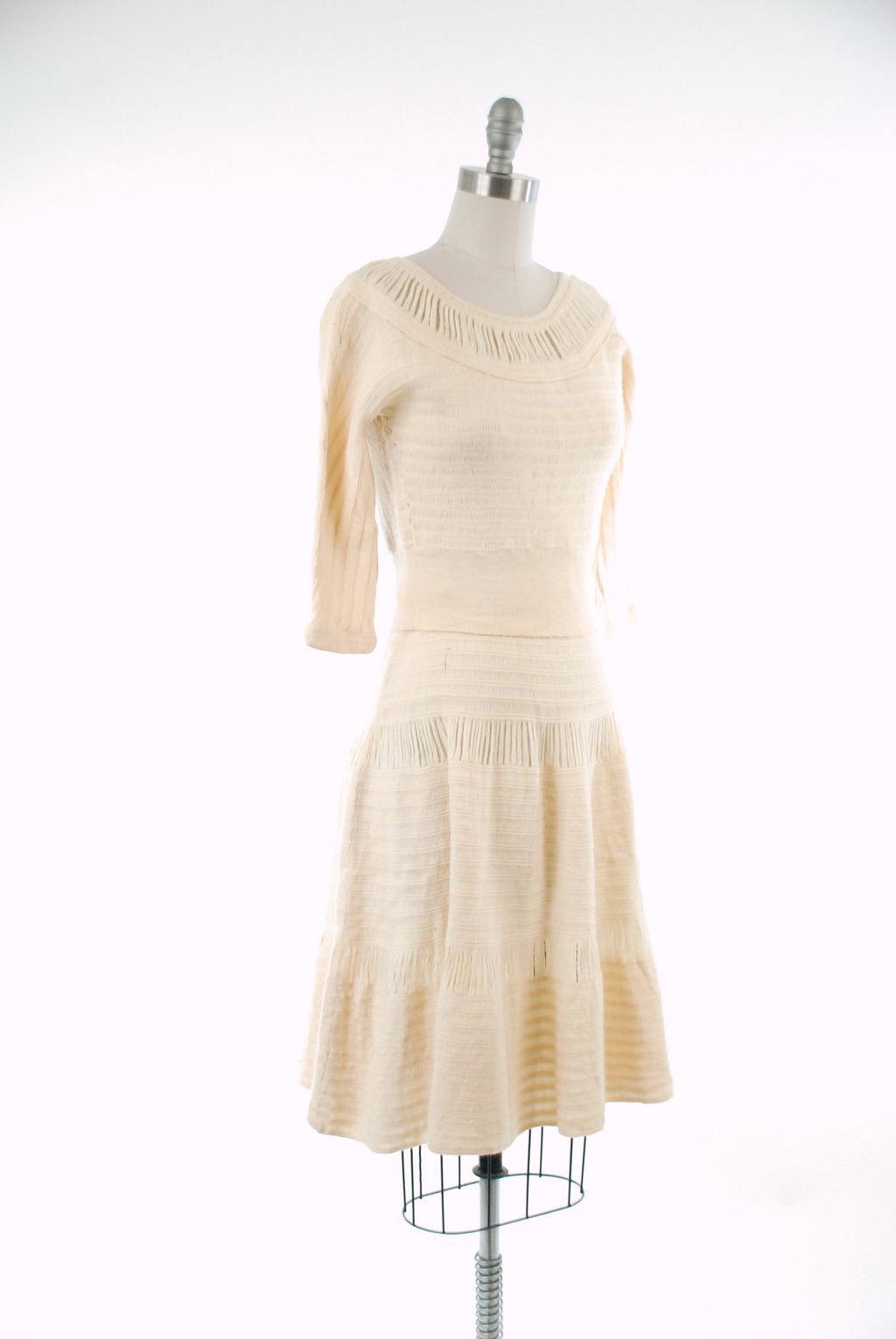 Vintage 1950s Sweater Dress Set - Lovely Ivory Wool Hairpin Knit 50s Pullover and Full Skirt