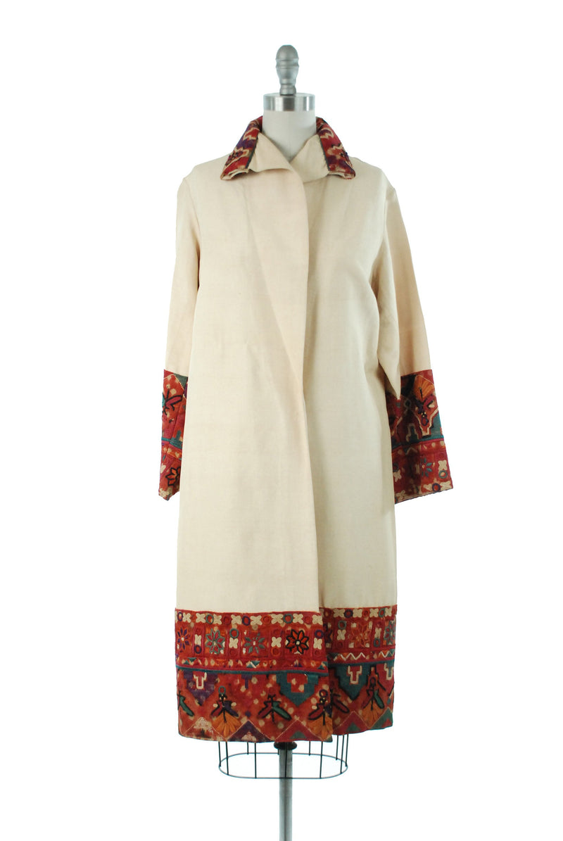 Vintage 1920s Coat - Rare and Striking 20s Coat in Ivory Raw Silk with Bright Indian Kutch Embroidery, Egyptian Revival Era